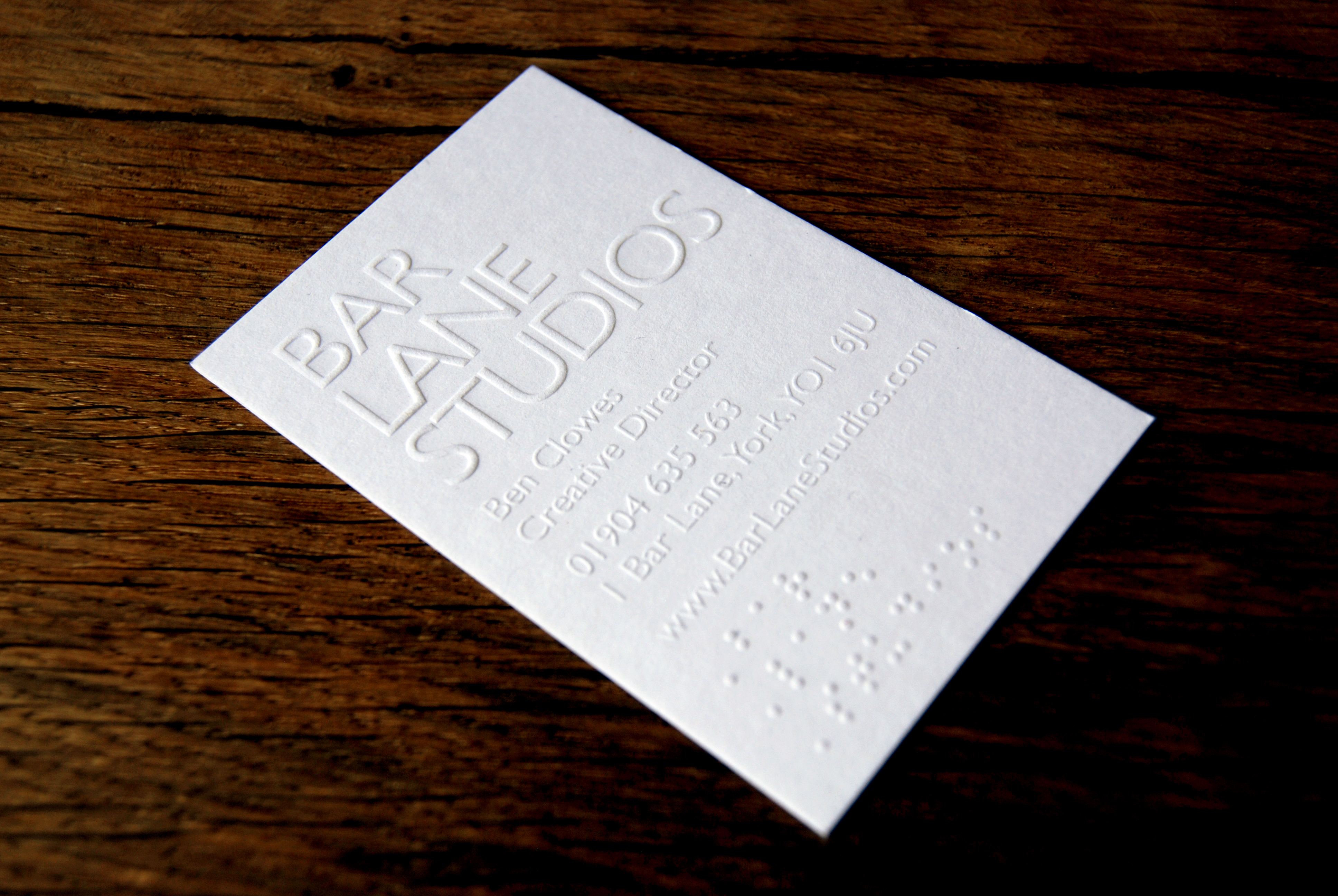 Business Card Design for Bar Lane Studios - Jamie Hutchinson