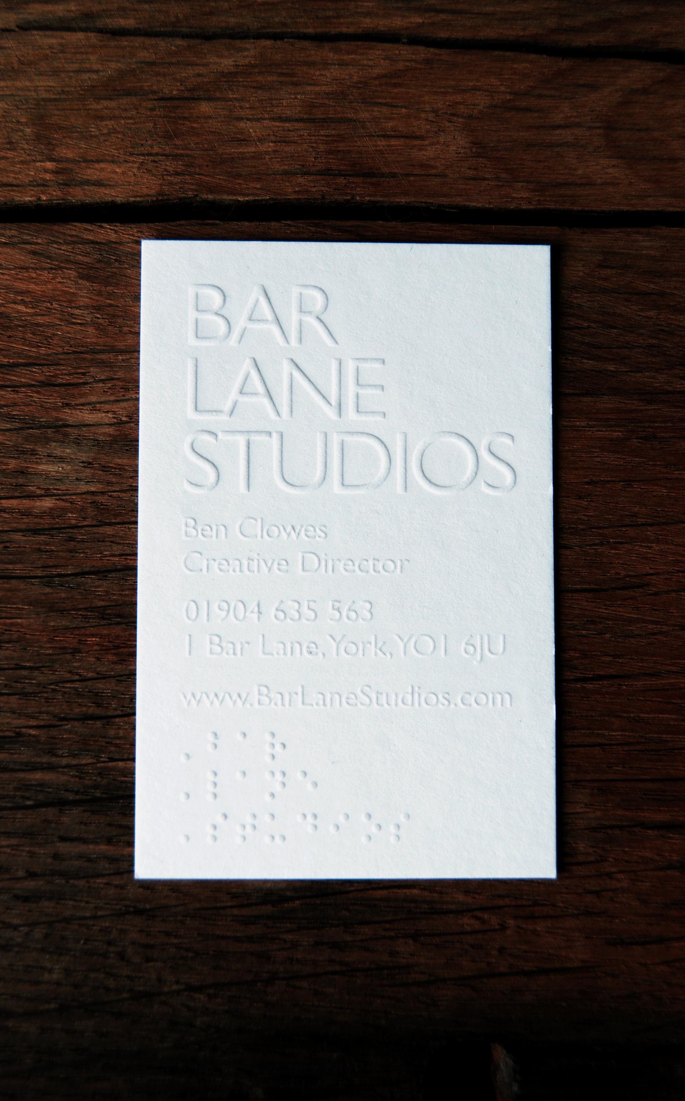 Business Card Design for Bar Lane Studios - Jamie Hutchinson